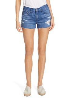rag & bone Cate Cutoff Denim Shorts (Quartz with Holes)