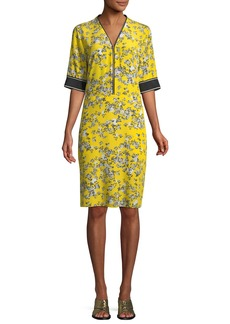 Rag & Bone Cecile V-Neck Half-Sleeve Floral-Print Silk Dress