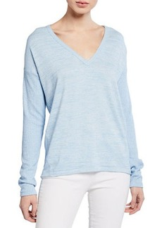 Rag & Bone Clare Torqued V-Neck Long-Sleeve Top