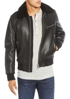 rag & bone Classic Leather Flight Jacket with Genuine Shearling Trim