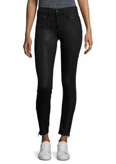 Rag & Bone Coated Skinny Jeans with Zip Detail