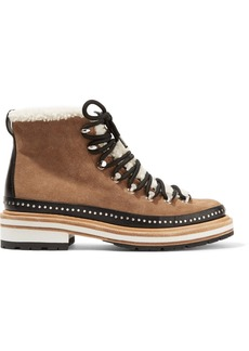 rag & bone Compass shearling and leather-trimmed suede ankle boots