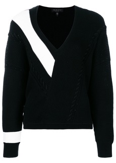 Rag & Bone contrast panel chunky knit sweater - Black