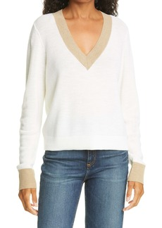 rag & bone Contrast Trim Merino Wool Crop Sweater