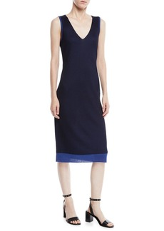 Rag & Bone Cora V-Neck Rib-Knit Midi Dress