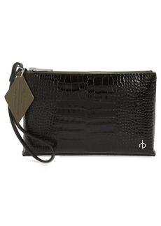 rag & bone Croc Embossed Leather Wristlet