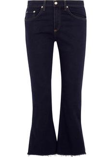 rag & bone Cropped frayed high-rise flared jeans