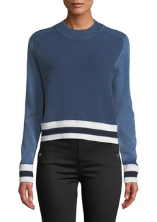 Rag & Bone Dean Stripe Mock-Neck Cotton/Wool Sweater