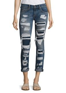 Rag & Bone Distressed Cuffed Boyfriend Jeans