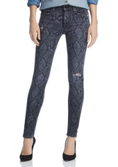 rag & bone Distressed Printed Skinny Jeans in Gray Snake