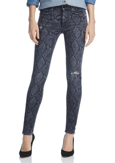 rag & bone Distressed Printed Skinny Jeans in Gray Snake