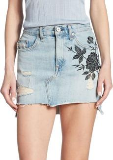 Dive High-Waist Embroidered Denim Skirt
