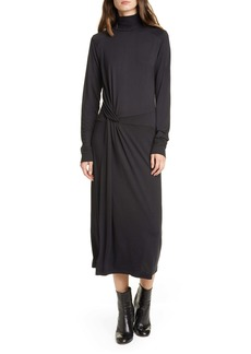 rag & bone Draped Long Sleeve Midi Dress