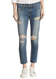 Dre Distressed Raw-Edge Capri Jeans/Delamo
