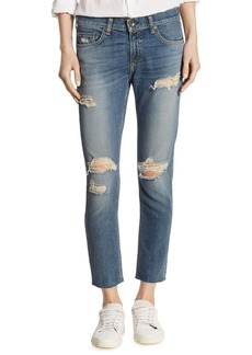 Rag & Bone Dre Distressed Raw-Edge Capri Jeans/Delamo