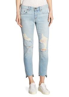 Dre Distressed Step Hem Capri Jeans/Marina