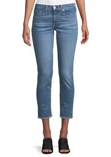 Rag & Bone Dre Splattered Straight-Leg Ankle Jeans