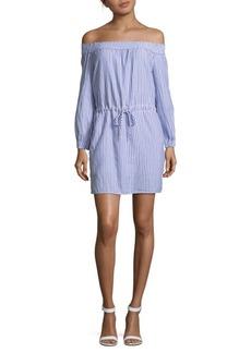 Rag & Bone Drew Stripe Off-the-Shoulder Cotton Shift Dress