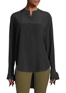 Rag & Bone Dylan Long-Sleeve Silk Blouse w/ Tie Cuffs