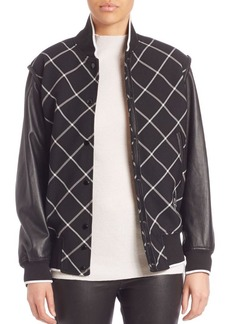 Rag & Bone Edith Leather Sleeve Varsity Jacket