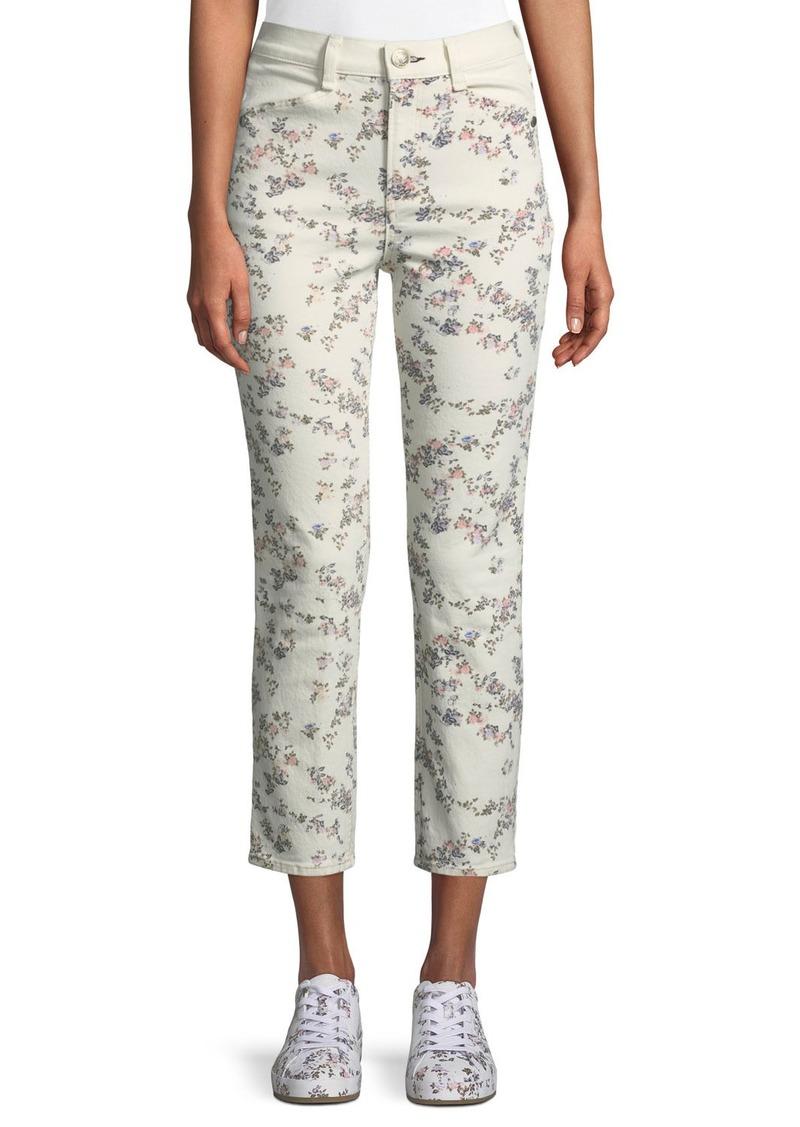 Rag & Bone Ellie Floral Cropped Straight-Leg Jeans