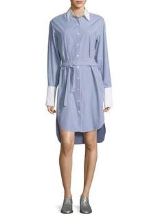 Rag & Bone Essex Striped Belted Shirtdress with Contrast Trim