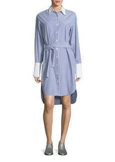 Rag & Bone Essex Striped Belted Shirtdress with Contrast Trim