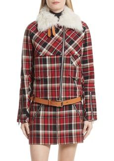 rag & bone Etiene Plaid Jacket with Genuine Lamb Fur Collar