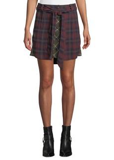 Rag & Bone Felicity Plaid Tie-Waist Button Skirt