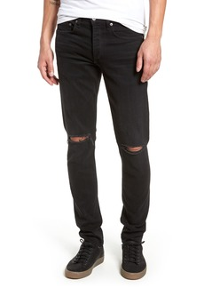 rag & bone Fit 1 Skinny Fit Jeans (Washed Black with Holes)