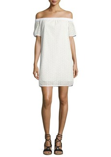 Rag & Bone Flavia Eyelet Lace Off-the-Shoulder Shift Dress