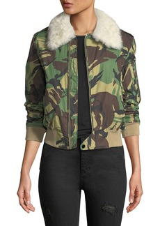 Rag & Bone Flight Zip-Front Camouflage Jacket with Fur Collar