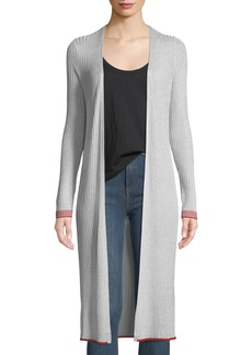 Rag & Bone Flora Long Metallic Open-Front Cardigan