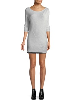 Rag & Bone Flora Round-Neck Long-Sleeve Metallic-Knit Mini Sweaterdress
