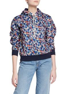 Rag & Bone Floral-Print Pullover Hoodie