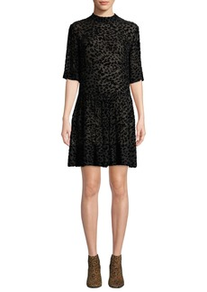 Rag & Bone Gia Animal-Print Velvet Burnout Shift Dress