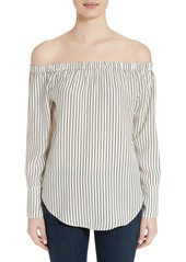 rag & bone Greta Stripe Silk Off the Shoulder Blouse