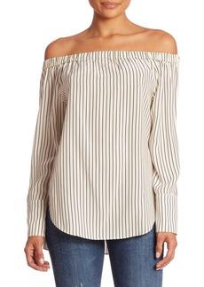Rag & Bone Greta Striped Silk Off-The-Shoulder Blouse