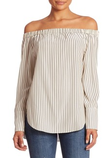 Rag & Bone Greta Striped Silk Off-The-Shoulder Blouse