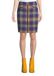 Rag & Bone Griffin Zip-Front Plaid Pencil Skirt