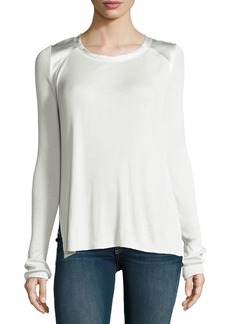 Rag & Bone Gunner Ribbed Charmeuse-Trim Long-Sleeve Top
