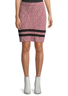 Rag & Bone Halstead Marled Cotton Knit Skirt w/ Varsity Stripe