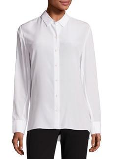 Rag & Bone Hayden Silk Rib-Knit Trim Shirt