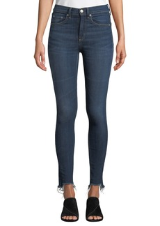 Rag & Bone High-Rise Chewed-Hem Ankle Skinny Jeans