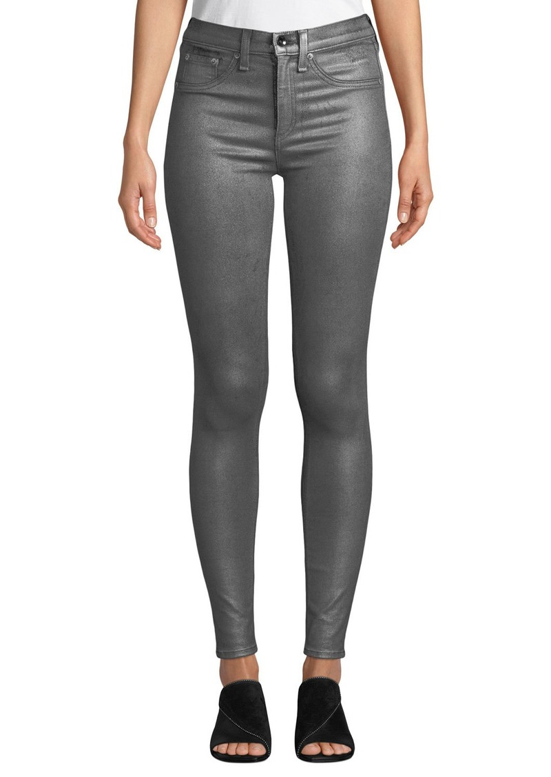 Rag & Bone High-Rise Coated Metallic Ankle Skinny Jeans