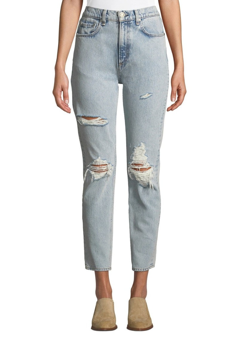 Rag & Bone High-Rise Distressed Ankle Skinny Jeans