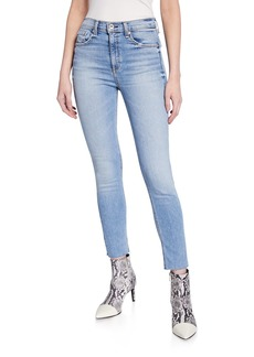 Rag & Bone High-Rise Distressed Ankle Skinny Jeans w/ Raw Hem