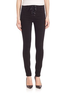 Rag & Bone High-Rise Lace-Up Skinny Jeans