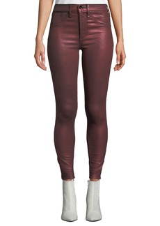 Rag & Bone High-Rise Metallic Ankle Skinny Jeans