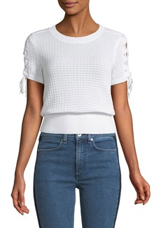 Rag & Bone Iona Crewneck Lace-Up Knit Top
